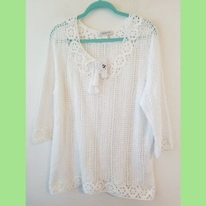 Christopher & Banks NWT White Crochet Top XLP